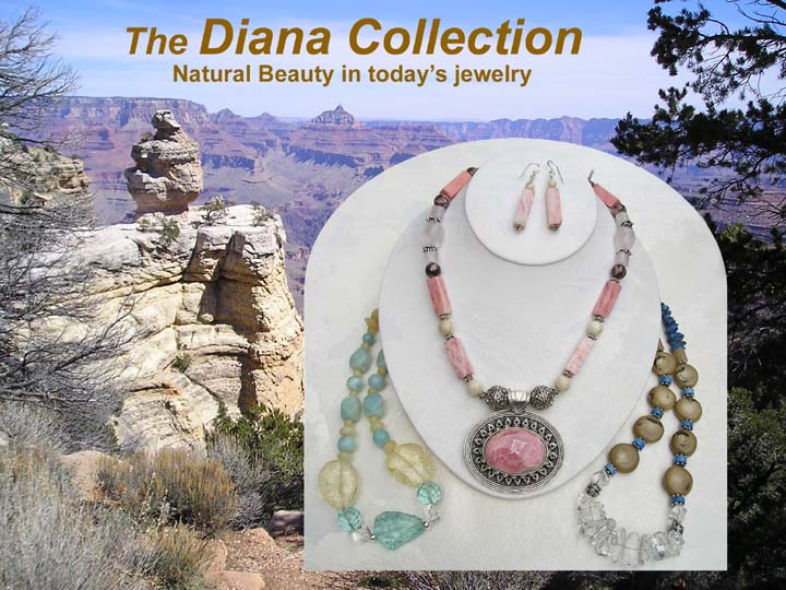 Trio of sterling silver beaded semiprecious stone necklaces, an example of jewelry from the Diana Collection