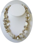 Go anywhere with this double strand of mother of pearl freshwater pearl and beige coral necklace.Beautiful triangular mother of