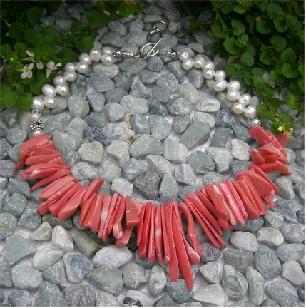 "Pink coral slivers with freshwater pearls necklace.17.5-18.5"" Expandable sterling togglelong  R10"