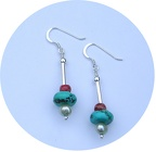 Freshwater pearl, turquoise and apple coral sterling earrings. ETurq.  $30.00