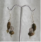 "Jasper and smokey quartz sterling earrings.  ED2023  Dangle is 1.25"" long  $32.00"