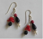 Red coral and black stone with pearl sterling earrings. $32.00