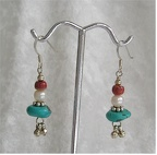 Turquoise, freshwater pearl and sponge coral sterling earrings with ball dangles.JPG