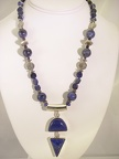 "Double lapis sterling pendent with sodalite and Bali sterling.TL2035 19.5""-20"" long"