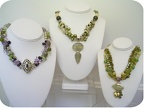 Multistrands of green pearls, peridot, jaspers and quartz. Email diana@thedianacollection.com with your preferred colors. Sample