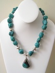 "Turquoise sterling pendant necklace. Bali sterling accents. Stately.  19-20"" long with an expandable sterling toggle.  EG20"