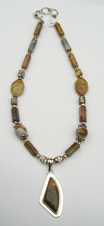"Green and brown triangular jasper and sterling pendant on ocean and picture jasper necklace.  up tp 21"" long on expandaable"